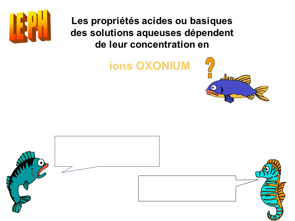 LE PH ions OXONIUM [H3O+] : concentration en mol.L-1